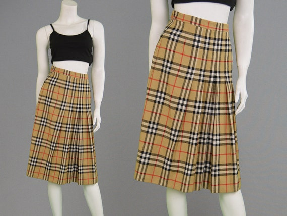Vintage 90s BURBERRY Plaid Skirt Womens Kilt Nova Check High