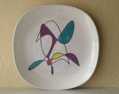 Large Metlox Poppytrail Mobile Ceramic Platter or Plate Mid Century Modern Colorful Atomic Design RARE