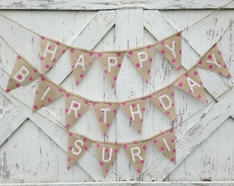 Happy Birthday Banner/ custom name banner/ party decoration