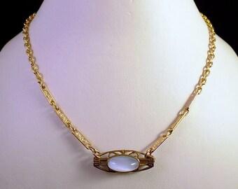 Blue Moonstone Art Nouveau Victorian Necklace