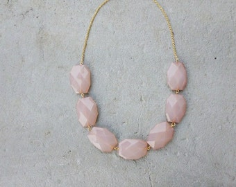 Chapmagne Necklace  Blush pink Necklace Bridesmaids Champagne Necklace