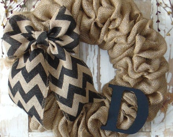 "ANY COLOR! 18"" Burlap Wreath with Chevron Bow."