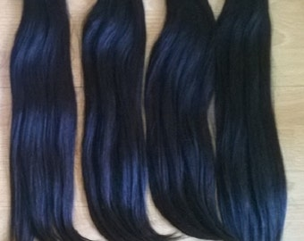 Virgin Vietnamese Natural Straight Human Hair Extensions 100g Natural Color 1B Velcro Attachment, Human Hair Extensions