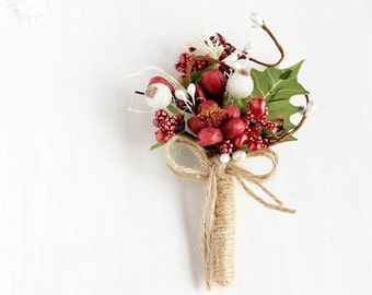 Marsala Boutonniere, Rustic Buttonhole, Woodland, Natural Boutonniere, Men's Lapel Pin, Groom Boutonniere, Flower Buttonhole, Best Man Gift