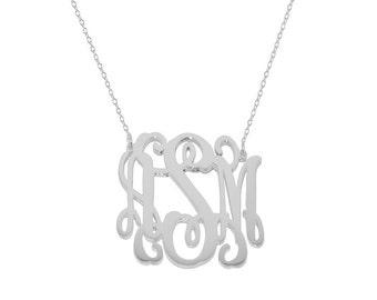 Silver Monogram Necklace - 1 inch Personalized Monogram - Name necklace 925 Sterling silver Mothers day gift Bridesmaid necklace