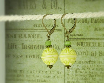 bronze earrings ornament green and white