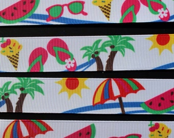 """5 Yards 7/8"""" Printed Grosgrain Ribbon by the Yard, Watermelon Ribbon Summer Ribbon for Crafts or Gifts"""