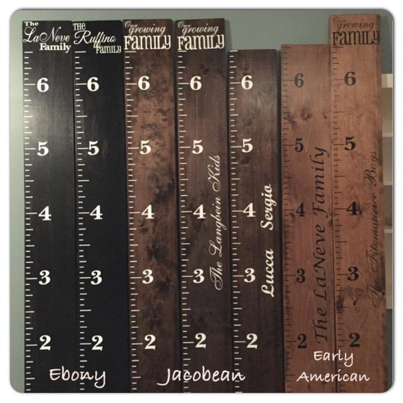 Wood Growth Chart Ruler Personalized Our Growing Family Custom