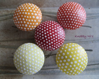 Orange Yellow and Red Polka Dot Hand Painted Drawer Knobs | Dresser Pulls | Drawer Pulls | Nail Covers