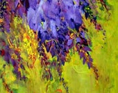 Yellow & Purple Wisteria Painting on Wood  hand made card printed on fine linen paper.