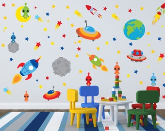 Space Theme Wall Decals - Outer Space Room - Alien Wall Decals - Rocket Wall Decals - Boys Room Decals - Space Theme Nursery Decor