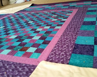 Purple Quilt, Blue Quilt, Handmade  Quilt, Queen Quilt, Finished Quilt, 92 x 97 Custom Made Designs, Quilts By Taylor