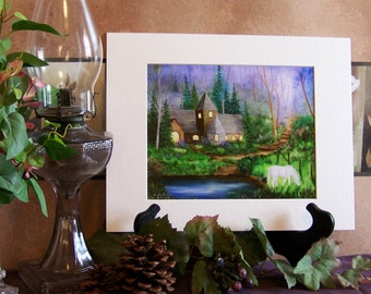 Cottage Fantasy Landscape Art print 8in x 10in