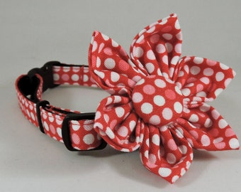Cat Collar or Kitten Collar with Flower or Bow Tie - Pink Polka Dots Forever