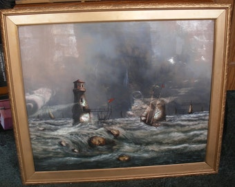 Reverse painting on glass, mother of pearl C 1900s lighthouse, ships