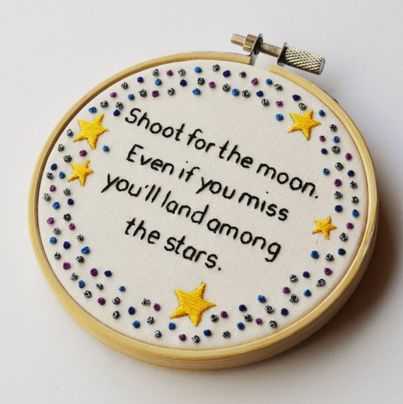 Inspirational Quotes On Pinterest: Inspirational Star Quote Hand Embroidery 4 Inch Hoop Wall Art