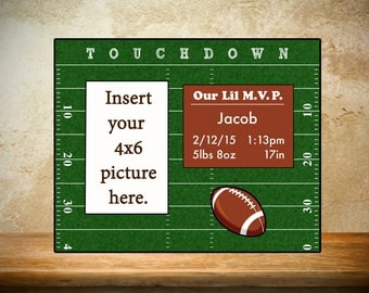 Personalized Child's Photo Frame, Baby Photo Frame, Newborn Photo Frame, Football Photo Frame