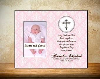 Personalized Baptism/Christening Frame - Pink Fancy Theme