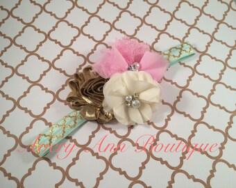 Baby Shabby Chic Headband, Newborn Headband, Girl Baby Headband, Flower Girl Headband