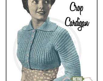 1950s Shortie Cardigan Knitting Pattern  - PDF Knitting Pattern - Instant Download