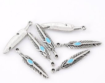 8 Antiqued Silver Turquoise Enamel Feather Charms