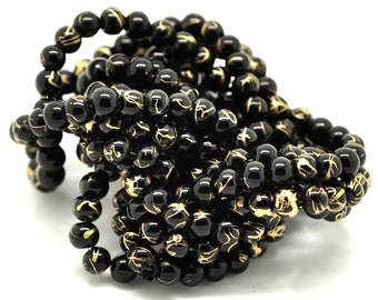 REDUCED 6MM Black With Gold Drizzle Glass Beads