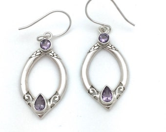 Amethyst Bali Design Earrings