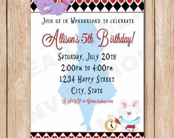 Alice in Wonderland Birthday Party Invitation - 1.00 each printed or 10.00 DIY file