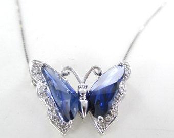 10K white gold butterfly necklace vintage