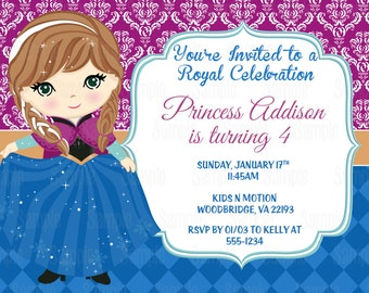 Printable Anna Frozen Birthday Party Invitation plus FREE blank matching printable thank you card