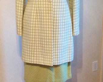 2p Green and Cream Houndstooth Skirt Set