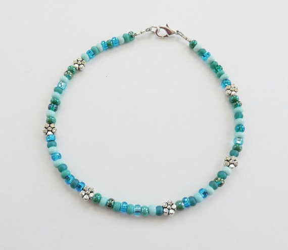 seed bead ankle bracelet turquoise and aqua by