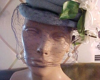 1950s Blue Straw Hat with Three Large White Flowers, Navy Veil, Label:A.S. Ekman