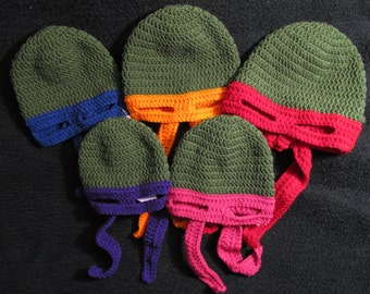 Ninja Turtle Hats with Colored Mask - Made to Order - Baby to Adult Sizes Available