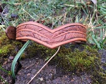 Leather Dog Collar Hand Tooled Feather Tan