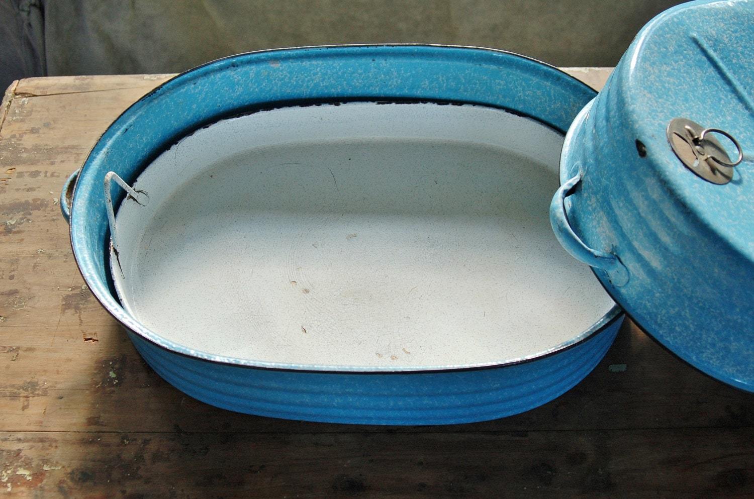 Reserved Blue Enamelware Roasting Pan With Insert Tray Reed