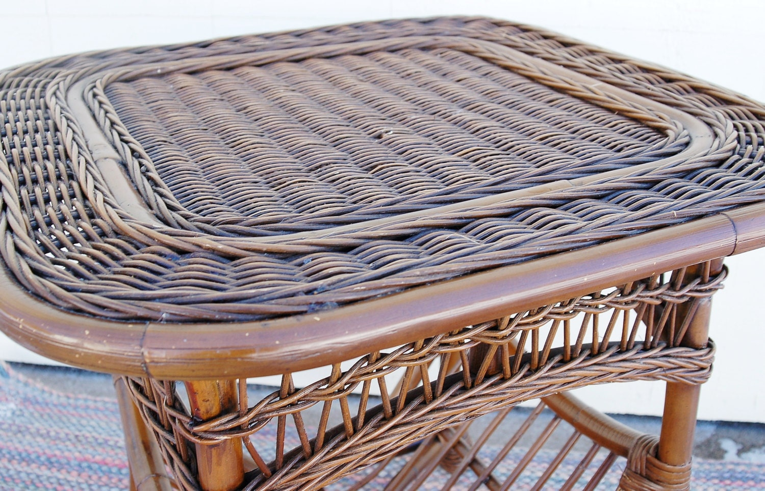 Rattan Reed Wicker Table Built In Magazine Rack Cane Bamboo