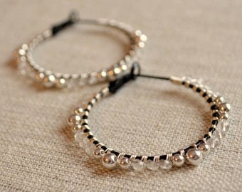Crystal Quartz Hoops, Gemstone Earrings, Black and Silver Plated, Wire Wrapped, Neutral, Mixed Metal Jewelry