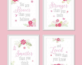 Toddler Girls Room Decor, Girls Room Wall Art, Inspirational Quote, Floral Nursery, You Are Braver Than You Believe, Floral Burst
