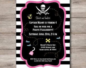 Pink Pirate Invitation with Editable Text, Printable Pink Pirate Party Invitation, DIY Pink Pirate Party Invitation, Girls Pirate Invitation