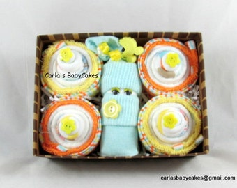 Washcloth Cupcakes | New Mom Gift | Baby Shower Gift | Baby Shower Decoration | Baby Gift | Baby Cupcake | Diaper Cupcake | Diaper Sock Baby
