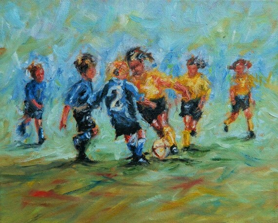 Items similar to art print of original oil painting soccer for Oil painting for kids