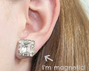 "Magnetic clip earrings, Princess Cut Crystal, 1/2"" (13mm), silver finish"