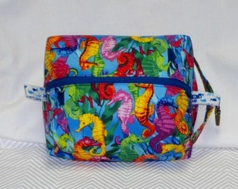 Colorful Seahorse Boxy Knitting or Crochet Project Bag, Boxy Cosmetic Pouch, Box Bag, Large boxy bag, Makeup boxy bag, Toiletry Bag, Pouch .