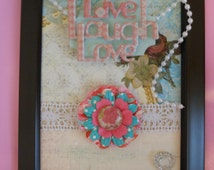 Live Laugh Love Shabby Chic Pearls Inspirational Shabby Chic Home Framed Art Collage