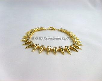 Crystal Spike Bracelet; Rhinestone Spike Bracelet; Party Wear, Trendy