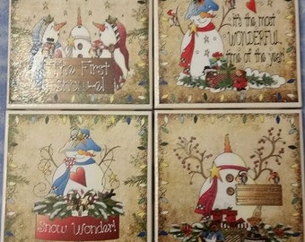 Snowmen Coasters Set of 4