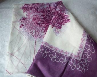 Vintage Lilac Scarf, Designed in Paris, Made in Japan
