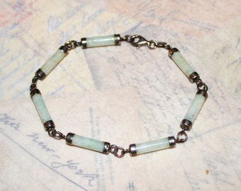 Vintage Sterling Silver Green Jade Tube Link Bracelet! Vintage Estate Jewelry!