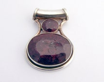 Large Natural Ruby Pendant Sterling Silver